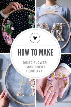How to make embroidery hoop art with dried flowers. Olga Prinku shares her simple step by step DIY tutorial to create your own mini hoop with hydrangea, eucalyptus, mimosa and spring flowers. Click through for other stunning ideas youll love to try too Embroidery Hoop Crafts, Embroidery Art, Embroidery Designs, Hungarian Embroidery, Embroidery Jewelry, Flower Crafts, Flower Art, Creative Workshop, How To Preserve Flowers