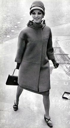 Orange wool and mohair coat featuring interesting collar by Jacques Griffe, shoes by Charles Jourdan, gloves and handbag by Hermès, L'Officiel 1965