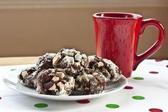 Chocolate peppermint bark crinkle cookies.