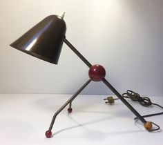 Modernist bras tripod lamp by Jacques Biny. France, 1950's.