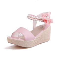 MayMeenth Women's Pu Solid Hook and Loop Open Toe Kitten Heels Platforms and Wedges * Continue to the product at the image link.