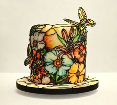 Gorgeous stained glass flower and butterfly cake!