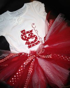St Louis Cardinals Red and White Polka Dot Applique by The Monogram Queen, $60.00    Set includes matching alligator clip bow that can be worn on tutu or as a hair bow.