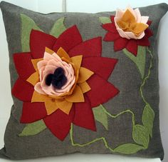 Felt Lotus Applique and Embroidered  Purple by VoleedeMoineaux, $200.00