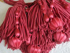 Simply Stunning Antique French Pair Of Raspberry Silk Large Curtain Tiebacks - Made by Hand - Highly Detailed - Devine♥  ****SOLD****