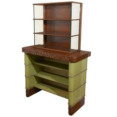 Early streamlined walnut, lacquered wood, and glass sideboard or china cabinet - 1928-29 - Grand Rapids Furniture Co. - designer KEM Weber.
