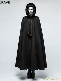 237060f9015 PUNK RAVE Fashion Women Gothic Long Coak Coat comfortable and windproof  applique fur collar decorative X-Long Coats