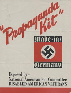 """Propaganda Kit."" Exposed by National Americanism Committee Disabled American Veterans. Brochure, New York, ca. 1939. Jewish Federation Council of Greater Los Angeles Community Relations Committee Collection. In Our Own Backyard: Resisting Nazi Propaganda in Southern California, 1933-1945. San Fernando Valley History Digital Library."