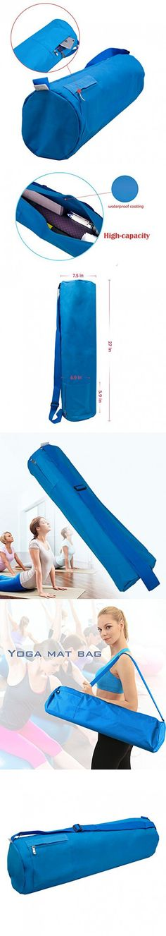 "Full-Zip Large Yoga Mat Bag with Side Pocket and Cinch Top, 27""(L) x 7""(D), Five Colors to Choose (Blue)"