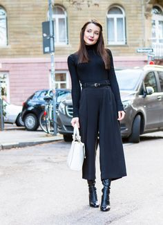 All black winter outfit. Black culottes, black overknee boots, black turtleneck. The Fashion Rose http://www.thefashionrose.com/2017/02/styling-black-culottes-for-winter-3-ways.html