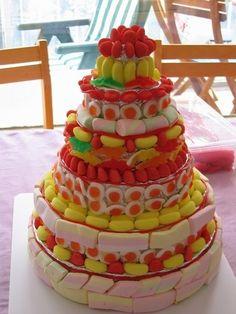 Et si on faisait un gâteau de bonbons ? Facile et les enfants adorent. Super idée pour un anniversaire.