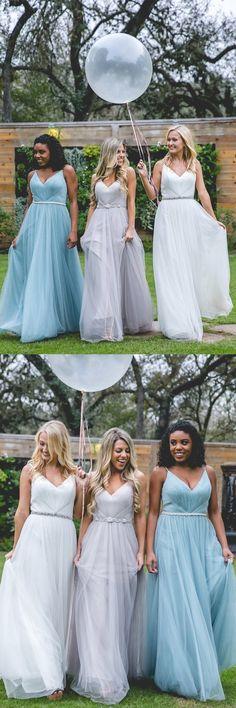 Tulle Bridesmaid Dress, V-Neck Bridesmaid Dress, Dress for Wedding, Backless Bridesmaid Dress, Spaghetti Straps Bridesmaid Dress, LB0852 #okbridal#bridesmaid