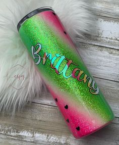 Excited to share this item from my #etsy shop: Watermelon glitter tumbler/gift for her/summer tumbler Glitter Tumblr, Red Bull, Tumbler, Watermelon, Gifts For Her, Etsy Shop, Canning, Drinks, Drinking
