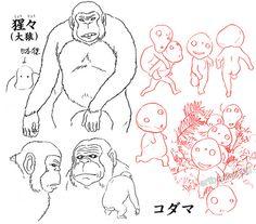 artbooksnat:      Princess Mononoke (もののけ姫) animation materials by character designer Masashi Ando (安藤雅司) in the Mononoke Hime Roman Album (Amazon US   JP)     (via arkhane)