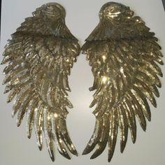 Engelsflügel XL GOLD Pailletten Bügelapplikation Bügelbild Bügelmotiv Engel