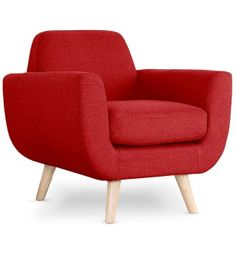 Fauteuil scandinave Storm tissu rouge 220e coin du design