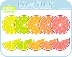 Citrus Fruits  Instant Download Cliparts by Print4Yourself on Etsy