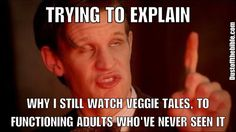 Hahaha I was actually just doing this but to my kids. They wanted to know the difference between veggie tales now and veggie tales in the early days because I said they were better than the newer ones Funny Christian Memes, Christian Humor, Christian Life, Funny Quotes, Funny Memes, Hilarious, Silly Songs With Larry, Bible Humor, Jesus Humor