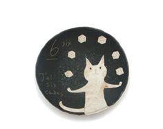 the art room plant: Makoto Kagoshima Ceramic Clay, Ceramic Pottery, Ceramic Plates, Kagoshima, Italian Artist, I Love Cats, Cat Art, Illustration Art, Illustrations
