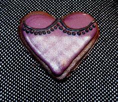 burlesque heart purple black silver fishnet ornate tassel detail
