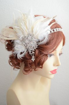One of a Kind Peacock Feather Headpiece, Art deco, Gatsby headpiece, 1920s, ready to ship www.yanethandco.etsy.com