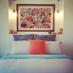 Beautifully designed renovated bedroom with rosetta santucci artwork