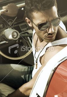 man in the car Royalty Free Stock Photo