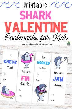 Babies to Bookworms offers printable shark Valentine bookmarks with silly shark artwork and funny shark puns. Spread the love! Valentines Day Book, Valentine Crafts For Kids, Valentines Day Activities, Activities For Kids, Valentine Cards, Ocean Activities, Preschool Lessons, Indoor Activities, Preschool Ideas