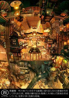 帝国少年-四番街 [Teikoku Shonen, Yobangai]  街の地下に存在する縦横に張り巡らされた廃墟を利用して作られた街。増築が繰り返され複雑に入り組んだ路地を形成している。犯罪が多く危険な地域。