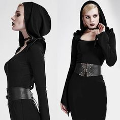Black Studded PU Leather Steam Punk Gothic Waist Corset Girdle SKU-71106011