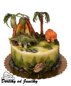 Dino cake by dortikyodjanicky Dinasour Birthday Cake, Dinasour Cake, Fairy Birthday Cake, Dinosaur Birthday Party, Dinosaur Cakes For Boys, Dino Cake, Diy Cake Topper, Specialty Cakes, Cake Servings