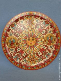 Sun Goddess, Plate decorative hand-painted in Severodvinsk style. For interior decoration in the Russian style Stone Painting, Painting On Wood, Russian Fashion, Russian Style, Russian Folk Art, Sun Art, Traditional Art, Creative Art, Illustration Art