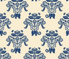 Elephant Damask in Natural and Indigo fabric by shellypenko on Spoonflower - custom fabric