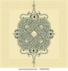 Template for tattoo design or card decoration with east and doodle elements. Floral ornament. Islam, arabic, indian, ottoman motifs. Infinity design. Vector illustration.