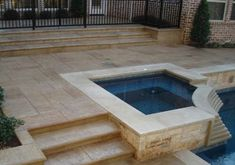 ● Backyard ● Ideen Backyard Pool Deck Stamped Concrete Infrared Heat Sauna Therapy For Backyard Pool Designs, Pool Landscaping, Stamped Concrete Colors, Concrete Backyard, Concrete Patios, Pool Remodel, Beton Design, Pool Picture, Dream Pools