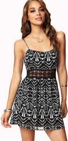 Black Crocheted Tribal Print Dress