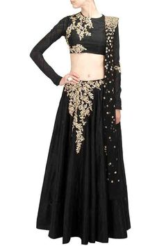 Black Resham Thread Lehenga