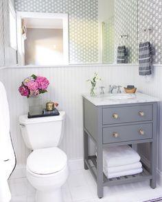 "2,977 Likes, 80 Comments - Driven By Decor | Kris Jarrett (@drivenbydecor) on Instagram: ""I'm so excited to share our guest bathroom makeover on the blog today! This bathroom started out as…"""