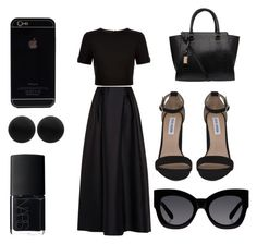 """Black"" by noriko-junio ❤ liked on Polyvore featuring Alberta Ferretti, Ted Baker, Steve Madden, Karen Walker, Thomas Sabo and NARS Cosmetics"
