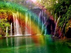 Most Beautiful - water, Jehovah, promise, color, God, rainbow, waterfall, colors