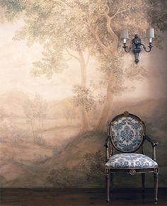 This image has a Georgian style oval back fauteuil but also has a wall mural like the renaissance time Look Wallpaper, Wall Wallpaper, Wallpaper Ideas, Beautiful Wallpaper, Grey Home Decor, Grisaille, Mural Painting, Wall Treatments, Chinoiserie