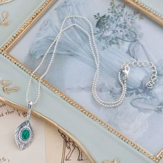 """Necklace Antique Silver & Silver Plated Feather Green Imitation Turquoise 45.5cm(17 7/8"""") long, 1 Piece"""