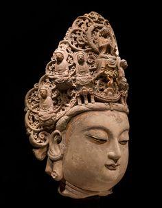 Head of a Bodhisattva, China, Northern Song Dynasty Human Sculpture, Buddha Sculpture, Sculpture Art, Buddha India, Asian Sculptures, Tibetan Art, Steve Mccurry, Religion, Buddha Art