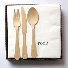 "perfect hostess present. ""food"" paper dinner napkins."