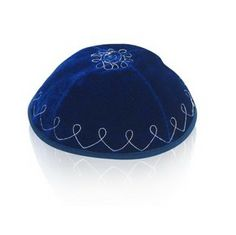 Light Blue Velvet Kippah with Silver Flowers and Loops