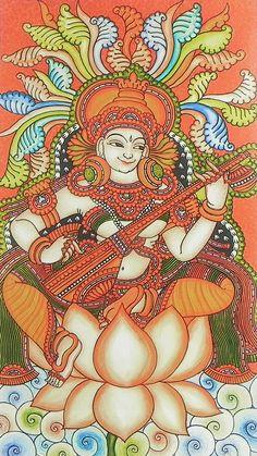 Saraswati - Goddess of Music and Knowledge (Reprint on Paper - Unframed) Kerala Mural Painting, Buddha Painting, Indian Art Paintings, Kalamkari Painting, Madhubani Painting, Saraswati Goddess, Goddess Art, Shiva Shakti, Dancing Drawings