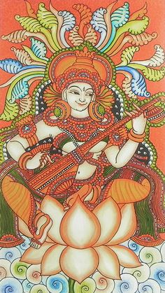 Saraswati - Goddess of Music and Knowledge (Reprint on Paper - Unframed))