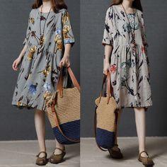 Plus-Size-Women-Casual-Loose-Dress-Cotton-Linen-Tunic-Summer-Long-Shift-Sundress
