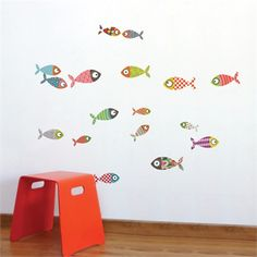 A modern wall decal is the perfect way to transform your child's nursery or bedroom.  The Small Fishes Wall Decal will create a fun, whimsical room for your child