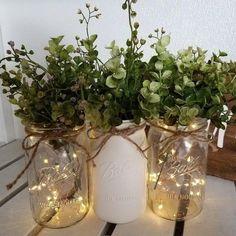 Wedding Vases, Rustic Wedding Centerpieces, Diy Wedding Decorations, Decor Diy, Gown Wedding, Rustic Diy Wedding Decor, Lace Wedding, Wedding Mason Jars, Wedding Rings